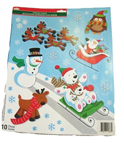 Christmas Reusable Window Clings ~ Santa with Sleigh, Sledding Polar Bear Family, Snowman, Owl, Reindeer and Snowflakes! (10 Clings, 1 Sheet)