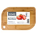 "zova Heavy Duty Non Slip Bamboo Cutting Board with Juice Groove, Size Medium 14"" x 9.4"" x 0.75"""