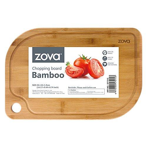 (zova Heavy Duty Non Slip Bamboo Cutting Board with Juice Groove, Size Medium 14