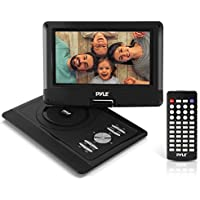 Upgraded Pyle 10 Portable DVD Player, CD Player, Swivel Angle Adjustable Display Screen, USB/SD Card Memory Readers, Headphone Jack, Built-in Rechargeable Battery w/ Remote Control. (PDV101BK)