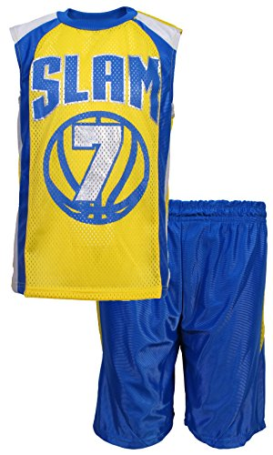 Mad Game Boys 2 Piece Athletic Basketball Short Set Slam  7  Gold  Royal  Size 8 10