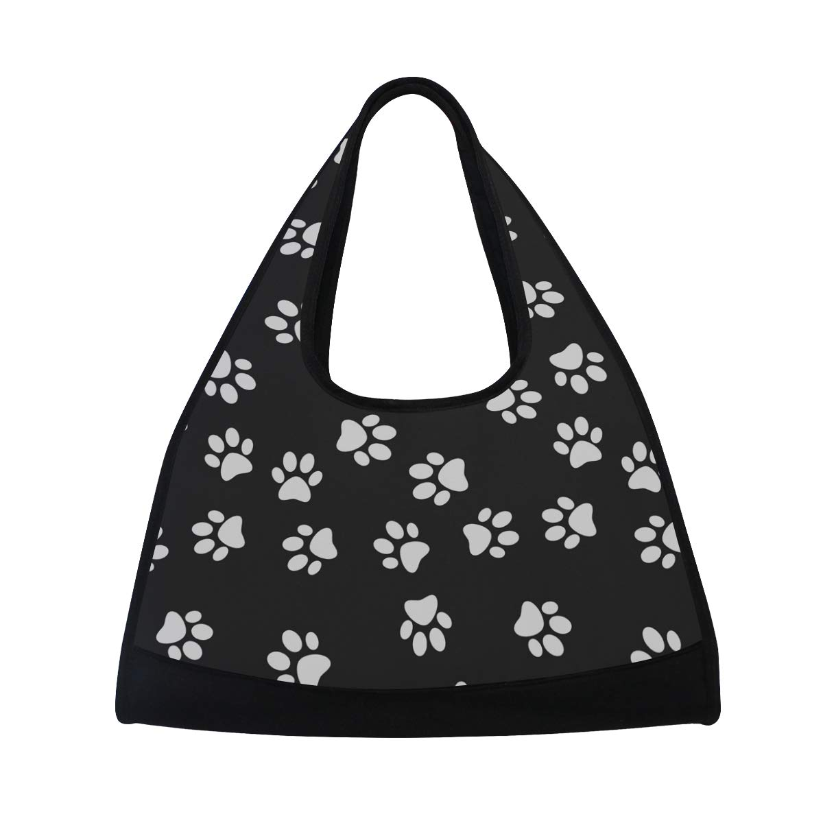 Dog Cat Paw Prints Women Sports Gym Totes Bag Multi-Function Nylon Travel Shoulder Bag