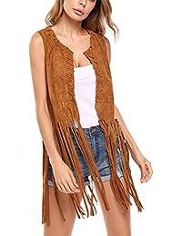 Women Fringe Vest Faux Suede Tassels 70s Hippie Clothes Open-Front Sleeveless Vest Cardigan Female