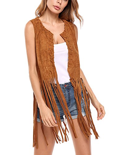 Hotouch Women Casual Tassel Detail Suedette Slim Vest Coat Cardigan Jacket (Brown -