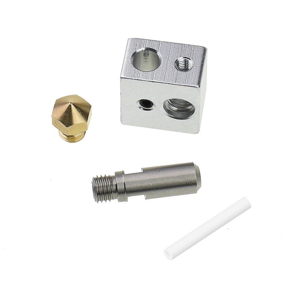 pezzi alluminio blocco riscaldante per specializzati MK10/M7/1.75/mm Makerbot RepRap 3D stampanti 3pcs 0.4/mm in ottone Estrusore ugello stampa testine Zomiee 3pcs M7/26/mm Estrusore tubo