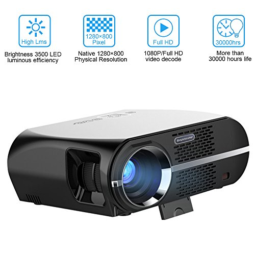 Video Projector Full HD, VPRAWLS HD LED Home Theater Projector Movie Projector with 1280x800 WXGA Resolution Support 1080P HDMI USB VGA for Home Cinema Party Games