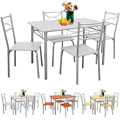 Sitzgruppe Esszimmer Küche 5tlg. Weiß - Stühle Tisch Esstisch Essgruppe