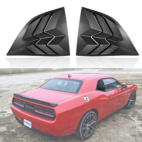 Opall For Dodge Challenger 2008-2019 ABS Quarter Side Window Scoop Louvers Matte Black