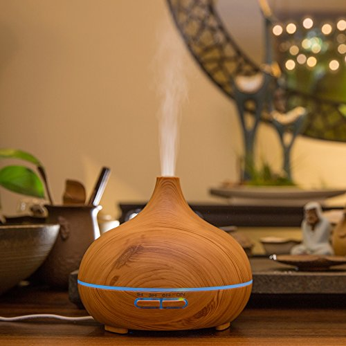 300ml Portable Wood Ultrasonic Cool Mist Aroma Humidifier with Color LED Lights FD25 by Purple-Violet (Image #7)