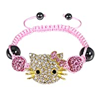 Wrapables Kitty Crystal Teen Celebrity Earrings and Necklace Jewelry Set with Gold Bow