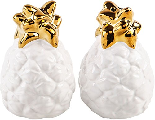 - White Ceramic Pineapple Salt/Pepper Shakers with Gold Crown Tops