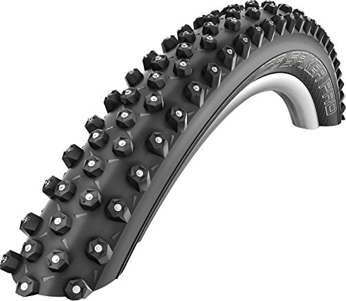 "SCHWALBE Ice Spiker Pro 2.60 Folding Compound Winter Tech Lite Skin 1015g Tire, Black, 27"" x 2/3"