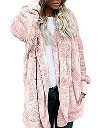 SVALIY Womens Fuzzy Fleece Loose Open Front Hooded Cardigan Coats Outwear Pockets