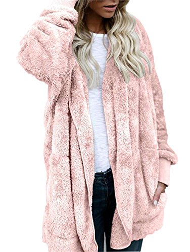 SVALIY Womens Fuzzy Fleece Loose Open Front Hooded Cardigan Coats Outwear Pockets (Open Front Cardigan Hooded)