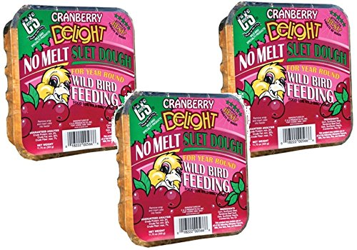 Wild Cranberry ((3 Pack) C & S Cranberry Delight No Melt Suet Cakes For Wild Birds)