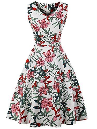 FAIRY COUPLE 1950S Vintage Rockabilly Lunares Vestido de Baile DRT072(M,Hojas de Flores Blancas)
