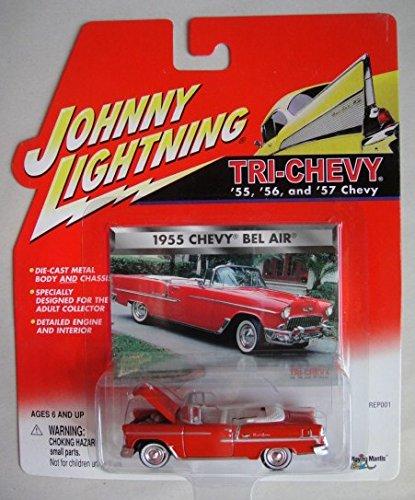 JOHNNY LIGHTNING TRI-CHEVY SERIES RED 1955 CHEVY BEL AIR CONVERTIBLE (1955 Chevy Bel Air Convertible)