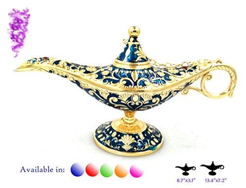 ZeeMoe Legend Aladdin Magic Genie Light Lamp Pot Classic Color Brass Aladdin Genie Lamps Incense Burners … (Blue and Gold, Regular)