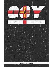 GGY: Guernsey Wochenplaner mit 106 Seiten in weiß. Organizer auch als Terminkalender, Kalender oder Planer mit der guernsey Flagge verwendbar