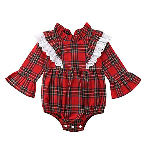 (Wiswell Newborn Baby Sister Christmas Matching Clothes Ruffled Long Sleeve Red Plaid Dress Romper Outfits (Red2, 70/0-6Months))