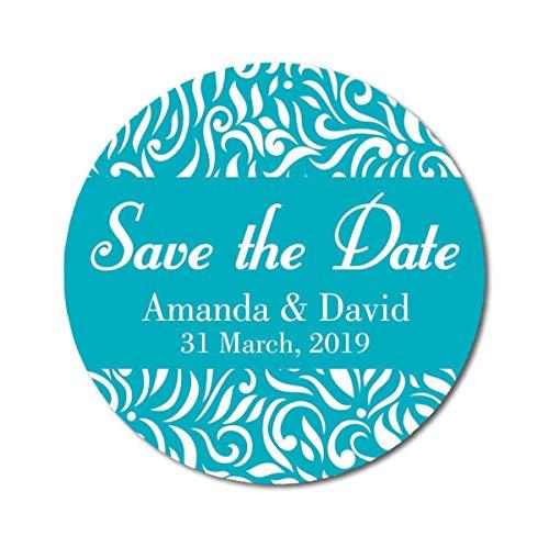 (CARAPOLLY Damask Round Sticker, Personalized Sticker, Save The Date Sticker, Wedding Gifts, Customize Sticker, Envelope Seals Sticker PDS-SD148 )