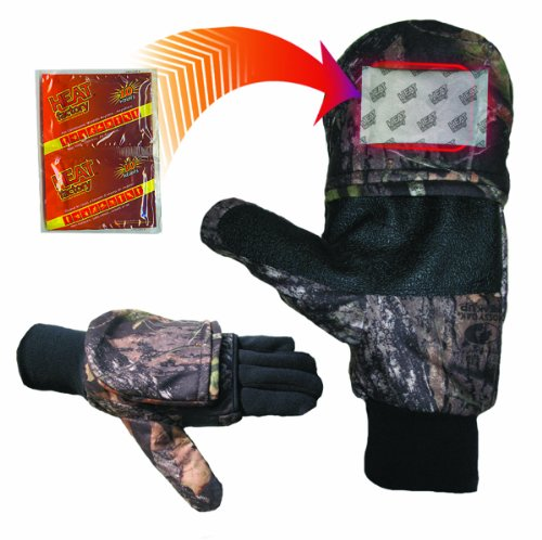 Heat Factory Gloves with Pop-Top Mittens, with Hand Heat Warmer Pockets, Mossy Oak, Large