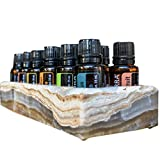 Luxurious Shades Of Stone Essential Oils Holder Carrying Case - Storage And Display Box for 12, 15ml Bottles - Free Matching Tray - 100% Onyx Stone (Rustic Brown)