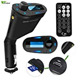 Amzdeal Car MP3 Player, blue Car Kit MP3 Player Wireless FM Transmitter Modulator with USB/SD/Card Reader MMC Slot and Remote Control