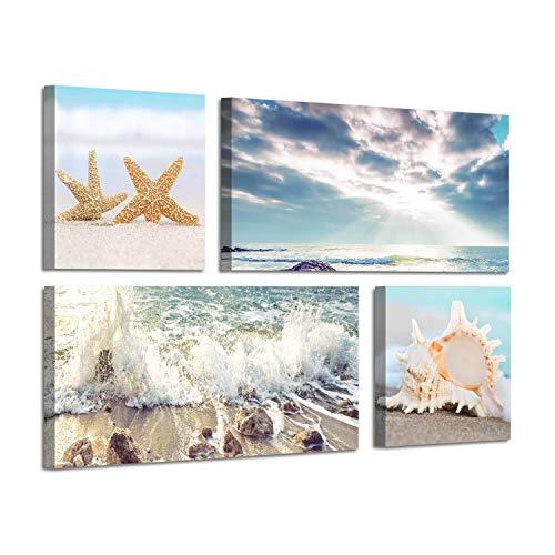 Beach Decor Scene - Beach Scene Canvas Wall Art: Large Shoreline Artwork Painting Print for Wall Decor(12''x12''x2panel+24''x12''x2panel)