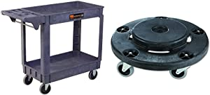 WEN 73002 500-Pound Capacity 40 by 17-Inch Service Utility Cart & Rubbermaid Commercial Products Brute Twist On/Off Round Dolly, Black (Fg264000Bla)