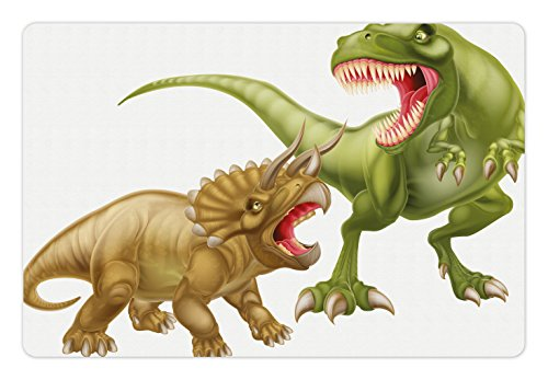 (Ambesonne Dinosaur Pet Mat for Food and Water, T Rex Versus Triceratops Fighting Scaring Each Other Wild Reptiles, Rectangle Non-Slip Rubber Mat for Dogs and Cats, Green Pink Pale Brown)
