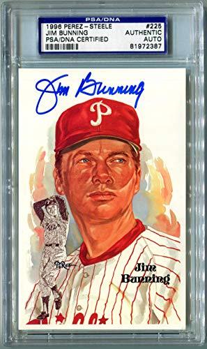1996 Jim Bunning Signed Perez Steele Postcard #225. PSA Authentic