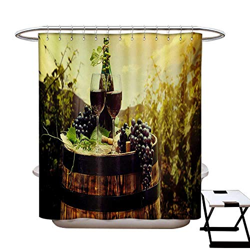 BlountDecor Wine Shower Curtains 3D Digital Printing Scenic Tuscany Landscape Barrel Couple Glasses Ripe Grapes Growth Custom Made Shower Curtain W48 x L72 Green Black Brown ()