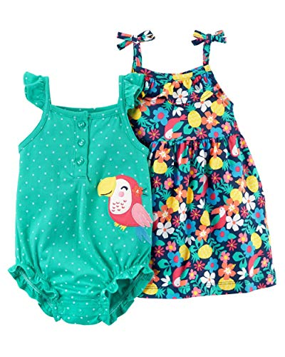 Carter's Baby Girls 2-Piece Dress & Romper Set (12 Months, Turquoise/Toucan)