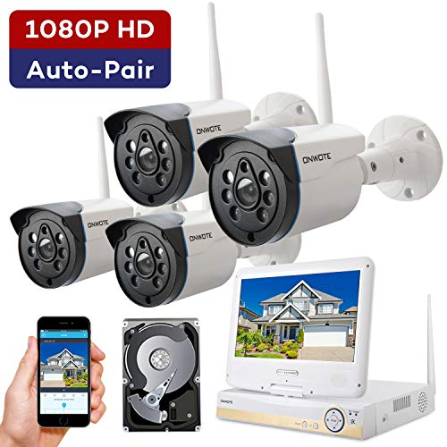ONWOTE 1080P Full HD Wireless Security Camera System with 10.1″ LCD Monitor and 1TB Hard Drive