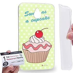 Case88 [Nokia Lumia 640XL] Gel TPU Carcasa/Funda & Tarjeta de garantía - Art Drawing Sweet As A Cupcake Green Art0805