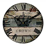 Vintage Wall Clock Rustic Shabby Chic Home Kitchen Wooden 30cm Decor #7