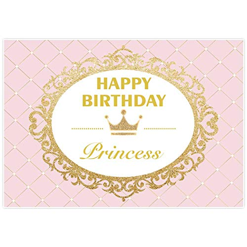 Allenjoy 7x5ft Royal Princess Backdrop for Girls Pink Gold Glitter Celebration Birthday party banner Cake Dessert Table photo studio booth background photocall -