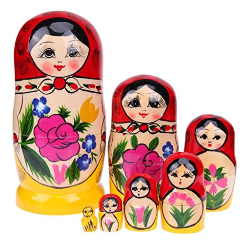 GreenSun TM 7Pcs/Set Colorful Girls Painting Russian Nesting Dolls Wooden Fun Stacking Russian Matryoshka Doll Toy Craft Home Decoration by GreenSun