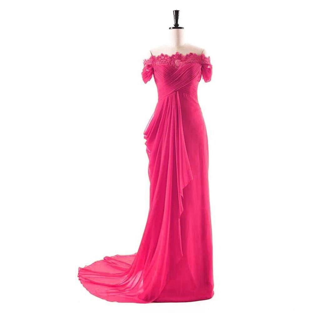 Pink Dydsz Women's Evening Party Dresses Mermaid Long Prom Dress Off Shoulder Lace D275