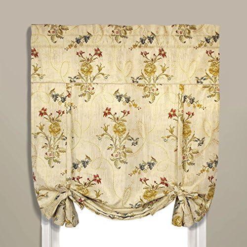 United Curtain Jewel Woven Tie Up Window Shade, 40 x 63 , Beige