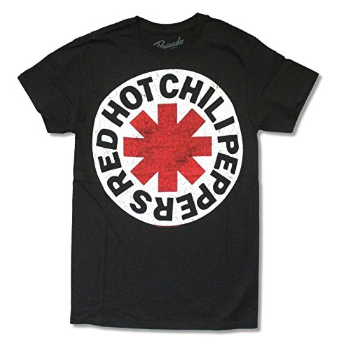 Bravado  Adult Red Hot Chili Peppers Scratched Logo Black T Shirt (XL) (Red Hot Chili Peppers Guitarist John Frusciante)