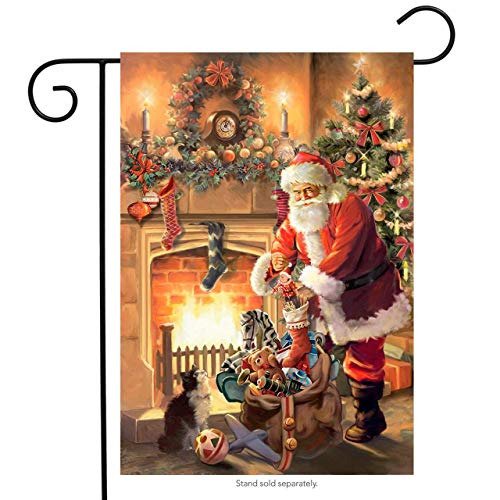 (Jagfhhs Santa by Fireplace Garden Flag Christmas Tree Stockings Santa Claus)
