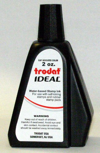 (Trodat AS-TRO52734 Ideal Premium Replacement Ink for Use with Most Self Inking and Rubber Stamp Pads, 2 oz, Black )