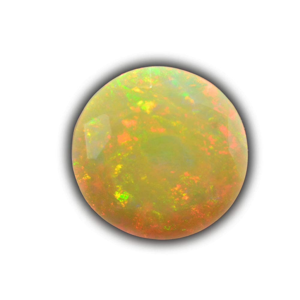 Lovemom 3.67ct Natural Round Unheated Multi-Color White-Opal Ethiopia #W