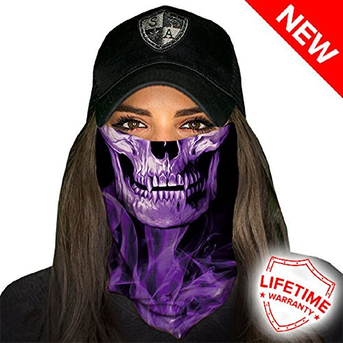 Salt Armour Face Mask Shield Protective Balaclava Bandana Microfiber Tube Neck Warmer (Purple Crow)
