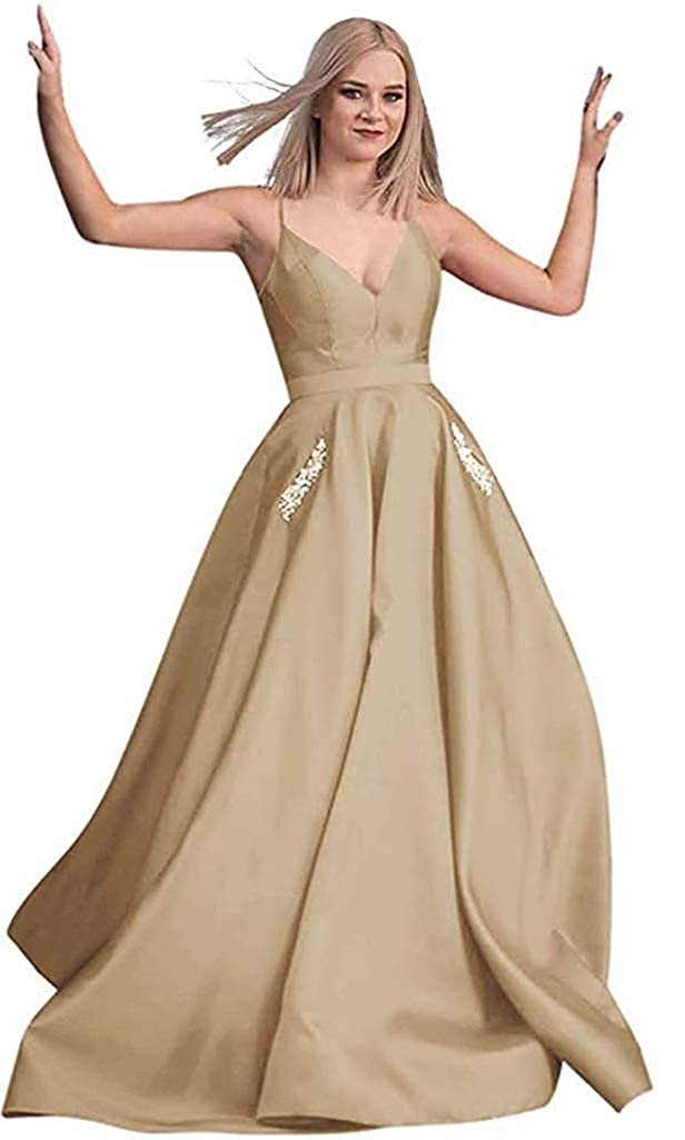 Champagne RTTUTED Satin Beaded Prom Dresses Long Ball Gowns for Women Pockets Formal Evening