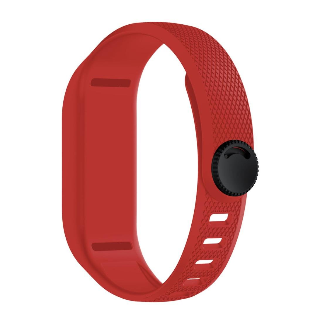 sukeq for Garmin Vivofit 3バンド、ソフトシリコンスポーツ交換用ストラップクラシックFitness Wristbandsブレスレットアクセサリーfor Garmin Vivofit 3 B07CG3LM4X レッド