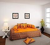 eCraftIndia Dandiya Couple 8 Piece 160 TC Cotton Diwan Set - Yellow