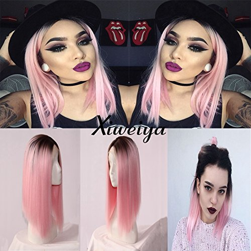 Ombre black to pink bob wig synthetic lace front short dark root wig for women Xiweiya